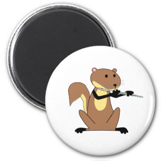 Squirrel Playing the Flute 6 Cm Round Magnet