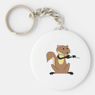 Squirrel Playing the Flute Key Ring