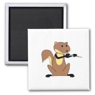 Squirrel Playing the Flute Square Magnet