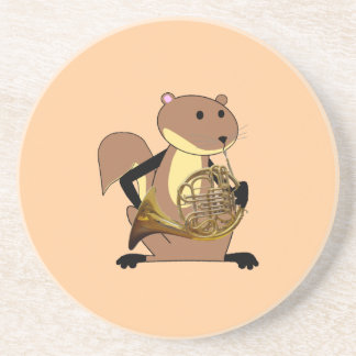 Squirrel Playing the French Horn Drink Coaster