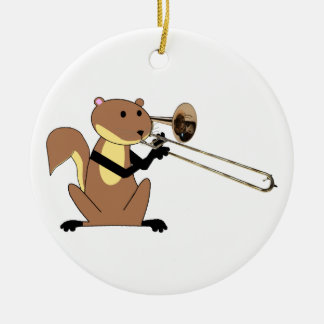 Squirrel Playing the Trombone Christmas Ornament