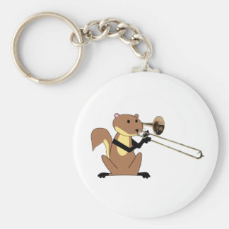 Squirrel Playing the Trombone Key Ring