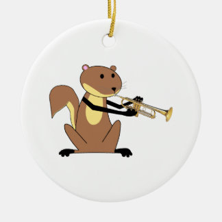 Squirrel Playing the Trumpet Round Ceramic Decoration