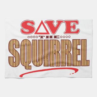Squirrel Save Tea Towel