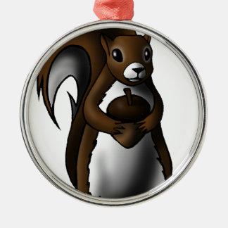Squirrel Silver-Colored Round Decoration