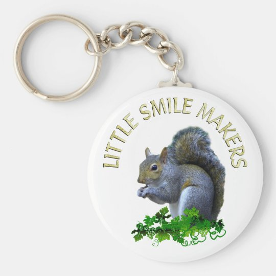 Squirrel Smile Makers Basic Round Button Key Ring
