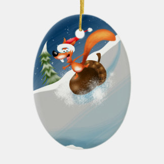 Squirrel Snowboarding Ceramic Oval Decoration