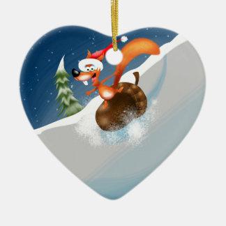 Squirrel Snowboarding Christmas Ornament