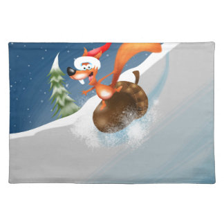 Squirrel Snowboarding Placemat