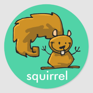 squirrel stick classic round sticker