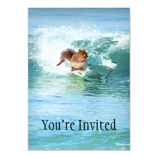 Squirrel Surfer On The Sea Card