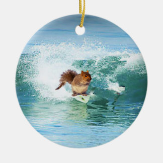 Squirrel Surfer On The Sea Christmas Ornament