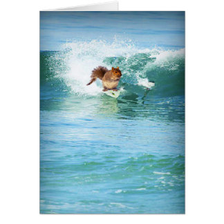 Squirrel Surfer On The Sea Greeting Card