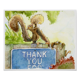 Squirrel Thank You Poster