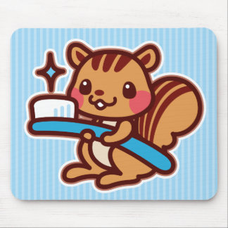 Squirrel with a toothbrush mouse pads