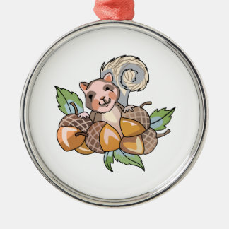 SQUIRREL WITH ACORNS Silver-Colored ROUND DECORATION