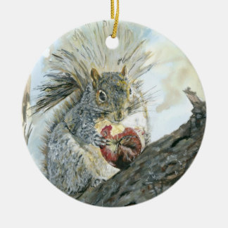 Squirrel with apple double ornament
