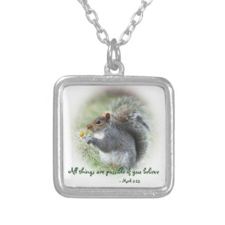 Squirrel with Daisy Mark 9:23 Silver Plated Necklace