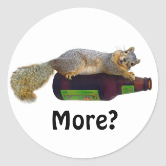 Squirrel with Empty Beer Bottle Classic Round Sticker