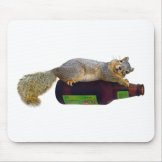 Squirrel with Empty Beer Bottle Mouse Pad