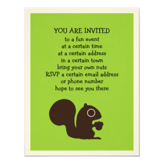 Squirrel with Nut - Fully Customizable 11 Cm X 14 Cm Invitation Card