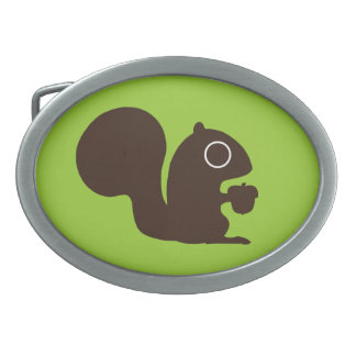 Squirrel with Nut Oval Belt Buckle