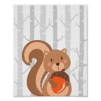 Squirrel Woodland Animal Nursery Wall Art Print