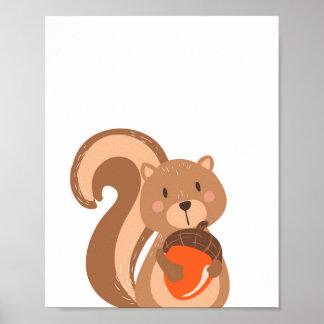 Squirrel Woodland Animal Nursery Wall Art Print