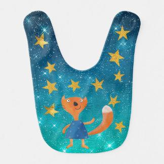 Squirrell Shiny Stars Stripes Gold Baby Bib