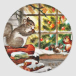Squirrels at the Window Round Sticker