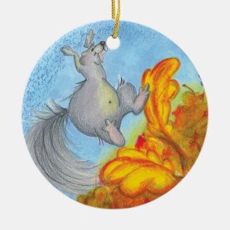 Squirrels Autumn Leaves & Acorns Ornament