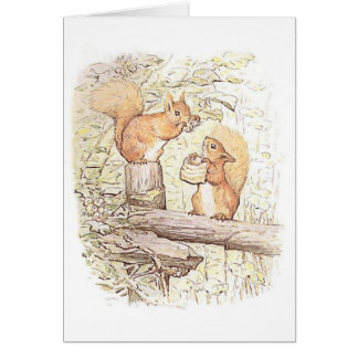 Squirrels Collecting Nuts Greetings Card