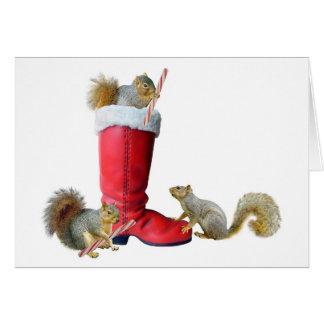 Squirrels in Santa's Boot Card