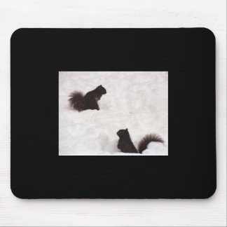 Squirrels in snow mouse pad