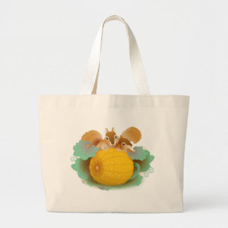 squirrels in the pumpkin patch large tote bag