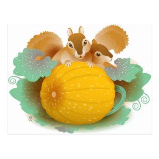 squirrels in the pumpkin patch postcard