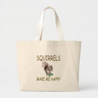 Squirrels Make Me Happy Large Tote Bag