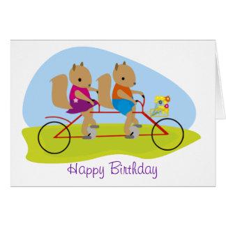 Squirrels on a Tandem Bike Birthday Card