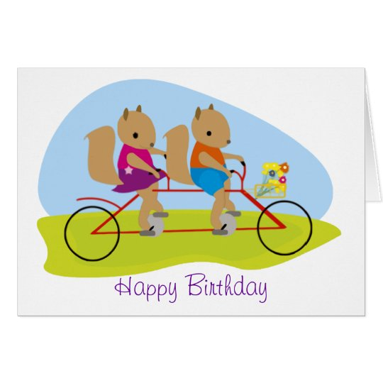 Squirrels on a Tandem Bike Birthday Card
