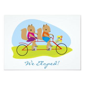 Squirrels on a Tandem Bike We Eloped 13 Cm X 18 Cm Invitation Card