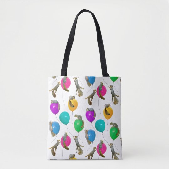 Squirrels on Balloons Tote Bag