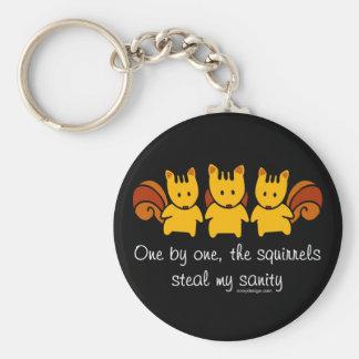 Squirrels steal my sanity Black Key Ring