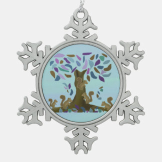 Squirrels Treehouse Snowflake Ornament