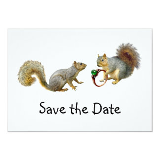 Squirrels with Ring Save the Date Card