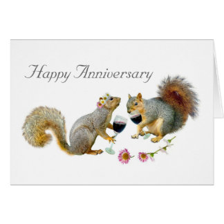 Squirrels with Wine Anniversary Card