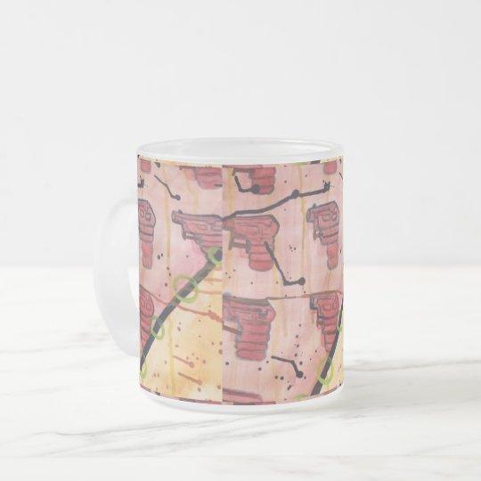 Squirt gun fun in colour design frosted glass coffee mug