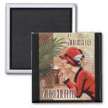 Squisito Cioccolato Italian Chocolate Woman in Red Square Magnet