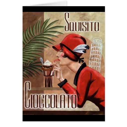 Squisito Cioccolato Italian Chocolate Woman in Red Note Card