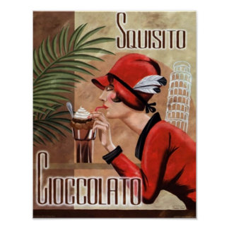 Squisito Cioccolato Italian Chocolate Woman in Red Poster