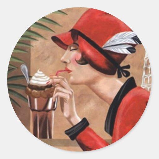 Squisito Cioccolato Italian Chocolate Woman in Red Round Stickers